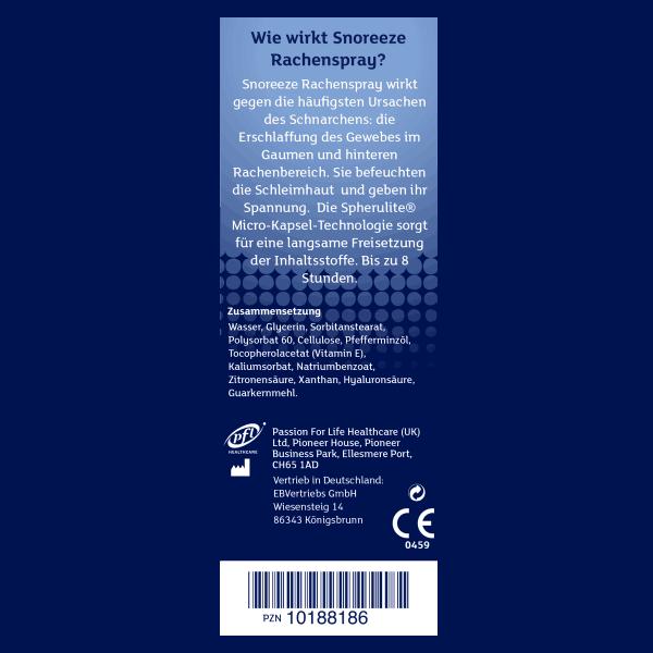 Snoreeze Rachenspray Einzelheiten